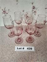 6 ROSE COLORED WINE GLASSES