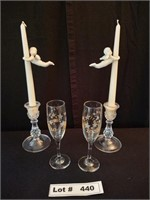 LETS CELEBRATE - 2 CANDLES  & 2 CHAMPAIGN GLASSES