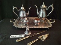 SILVER TEA SERVING SET WITH BELL, CAKE KNIFE AND C