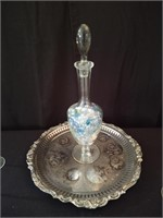 SILVER SERVING TRAY WITH GLASS DECANTER, 4 WINE GL