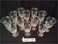 12 ETCHED STEMED DRINKING GLASSES
