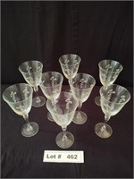 8 ETCHED WINE GLASSES