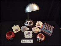 DESK LAMP, NIGHT LIGHTS, CANDLE HOLDER, AND BULBS