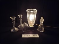 LAMP, CANDLE STICKS, AND BELL