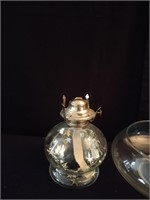 2 OIL LAMPS AND LARGE GLASS BOWL