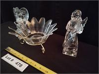 1 GLASS ANGLE CANDLE HOLDER, 1 GLASS FIGURINE, 1 G