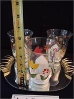 MIRRORED TRAY AND 3 DECORATIVE GLASS CANDLE HOLDER
