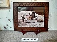 FRAMED SIGNED PHOTO OF LANDING ON THE MOON - JOHN