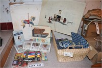 EMBROIDERY SUPPLIES, NEEDLE POINT BOOK AND BASKET