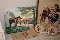 UNFRAMED ART AND FRAMED NEEDLE POINT ART