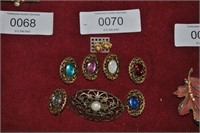 7 Brooches 1 pr earring