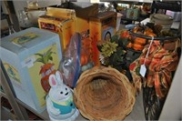 Entire Second Shelf of Easter and Autumn Decor