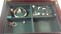 Jewelry box with jewelry some sterling