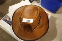 overlander genuine leather outback hat (m)