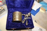 baby cup stamped brass,spoon,fork&case