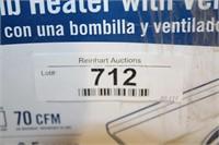 box broan one bulb heater w/vent fan