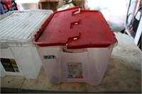 1 X 49L CLEAR TOTE W/RED LID