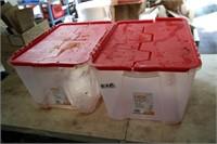 2 X 49L CLEAR TOTE W/RED LIDS