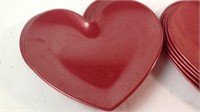 Lot of 10 plastic heart shaped plates