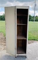 "Old Hardwood cabinet, 14"" w x 58.5"" h x 17.5"" d"