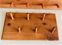 """2 Wooden Coat/ Hat Racks, Long one is 4 ft  x 12"""""""