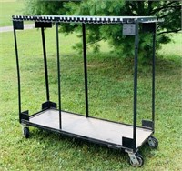 "Metal Cart on Wheels, 62"" wide x 22"" x 4 ft high,"