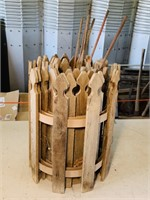 "Roll of wood Fence w/Stakes 16"" high"