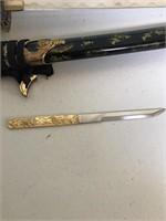 Katana with Black Handle Wrap with hidden knife