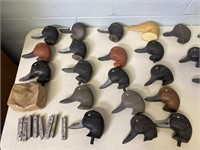 Lot of Duck Decoy Heads and Decoy Anchors