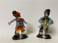 2 Heavy Hand Blown Glass Clowns