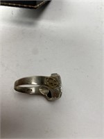 Antique Gold & Sterling Ring Engraved 1935