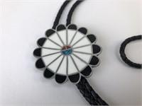 VTG Enamled Inlaid Stone Leather Sun Face Bolo Tie