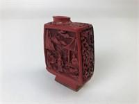 Vintage Carved Cinnabar Asian Snuff Bottle