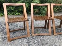 Mid-Century Drop Leaf Table & Nesting Slat Chairs