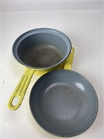 Mid-Century Descoware Enamled Cast Iron Skillets