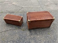 Small and Large Wicker Chest Lot