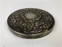 Antique Heavy Silver Played Compact Mirror