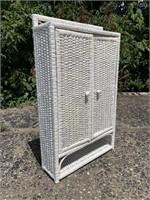 Vintage Wicker Storage Cabinet