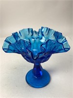 Vintage Fenton Style Scalloped Glass Dish
