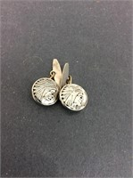 Vintage Metal Native American Chief Cufflinks