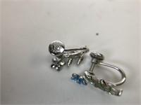 Vintage Beau Sterling  Enameled Flower Earrings