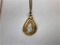 Vintage Gold Tone Pear Pendant Necklace