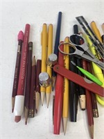 Basket of Mechanical Pencils, Pens and Sewing