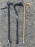 Three Canes, Two Adjustable and One Wooden