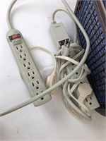 Lot of Power Strip Extension Cords and Baskets