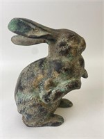 Cast Metal Rabbit Figurines Made in Japan