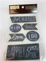 Wedding Themed Adhesive Wood Shapes