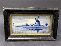 Vintage Delfts Holland Framed Ceramic Tile