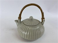 Vintage Ceramic and Bamboo Teapot