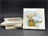 Vintage Ceramic Bird Tiles Pelican Flamingo Gull